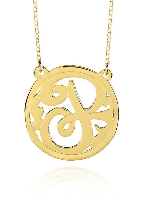 14k Yellow Gold P Monogram Necklace