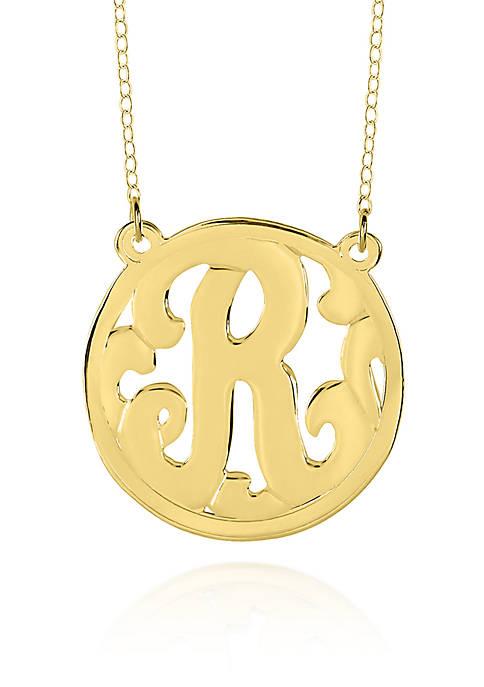 14k Yellow Gold R Monogram Necklace