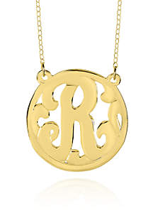 14k Yellow Gold R Monogram Necklace