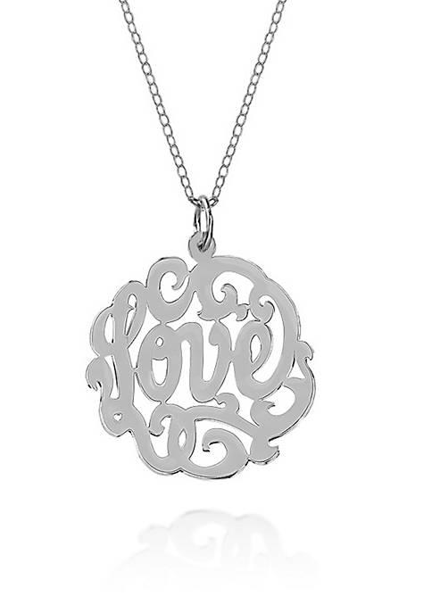 Sterling Silver Love Monogram Pendant