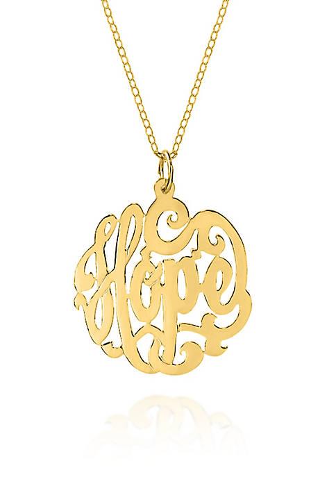 14k Yellow Gold Monogram Hope Pendant