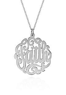 Sterling Silver Faith Monogram Pendant