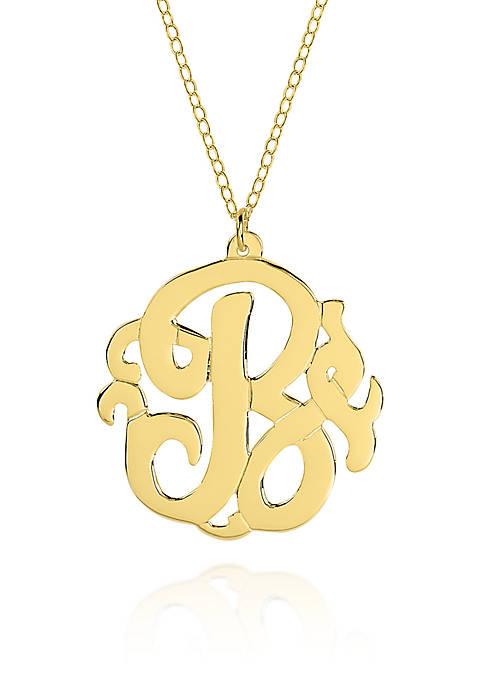 14k Yellow Gold B Monogram Necklace