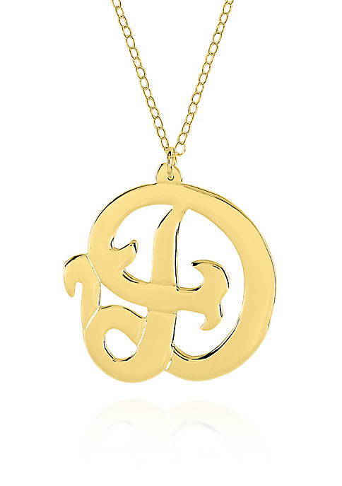 10k Yellow Gold D Monogram Necklace