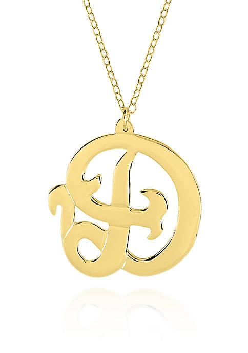 14k Yellow Gold D Monogram Necklace
