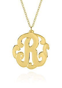 10k Yellow Gold R Monogram Necklace