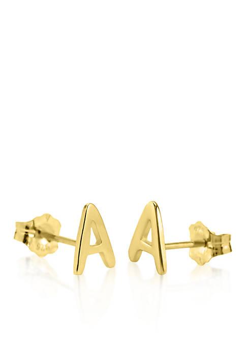 10k Yellow Gold A Initial Earrings