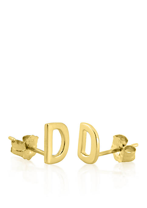 14k Yellow Gold D Initial Earrings
