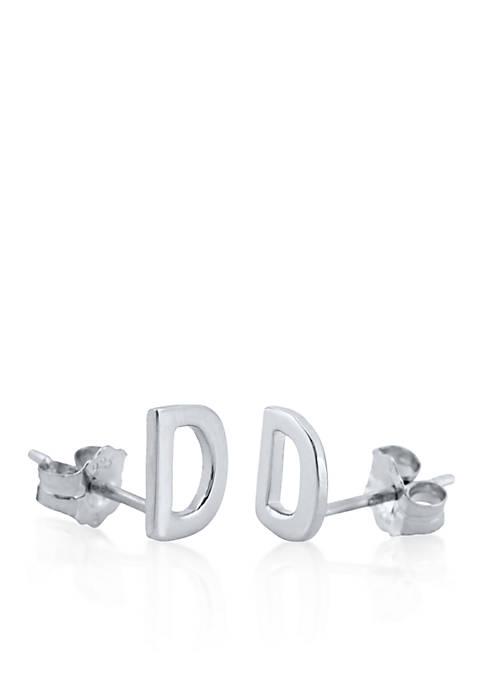 Sterling Silver D Initial Earrings
