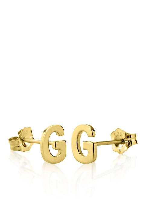 14k Yellow Gold G Initial Earrings