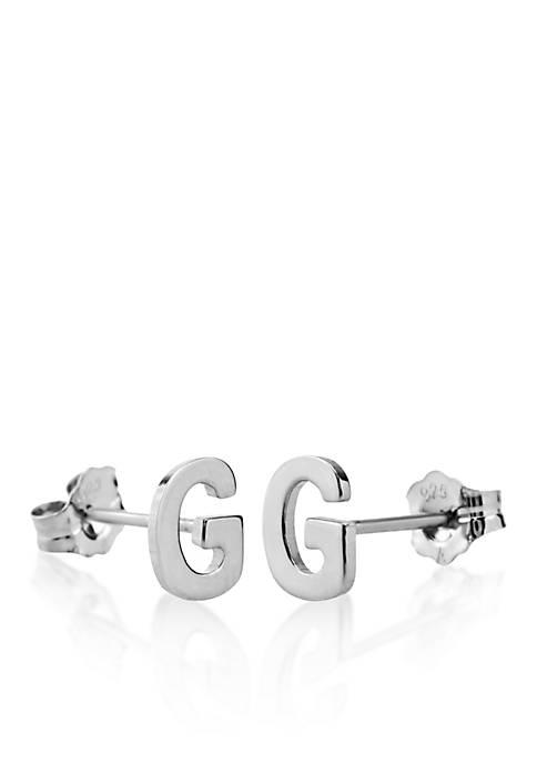 Sterling Silver G Initial Earrings