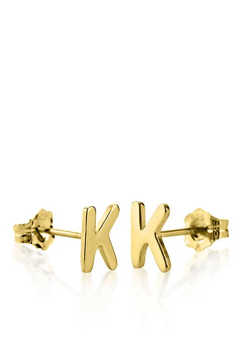 10k Yellow Gold K Initial Earrings