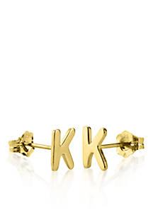 14k Yellow Gold K Initial Earrings
