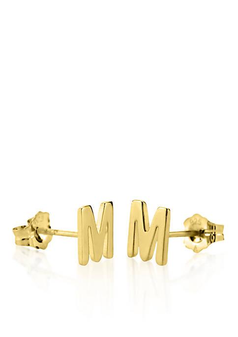 14k Yellow Gold M Initial Earrings