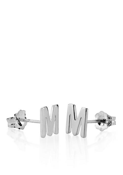 Sterling Silver M Initial Earrings