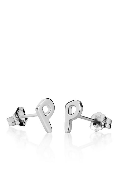 Sterling Silver P Initial Earrings