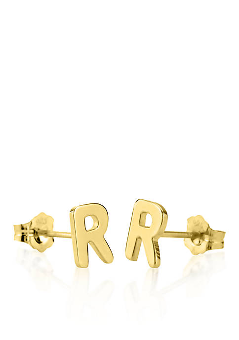 14k Yellow Gold R Initial Earrings
