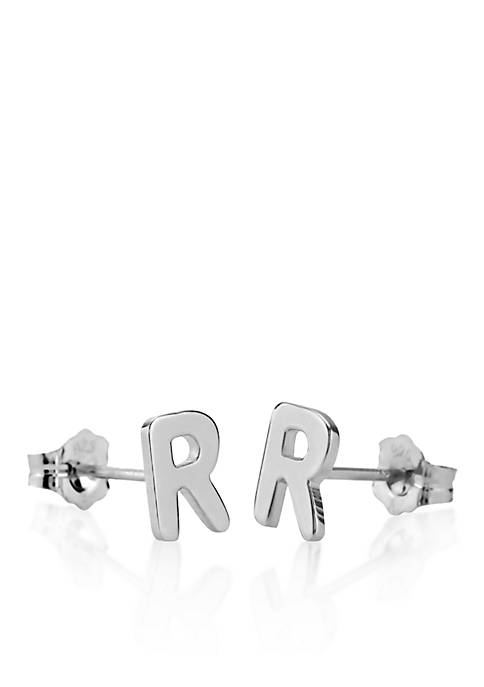 Sterling Silver R Initial Earrings