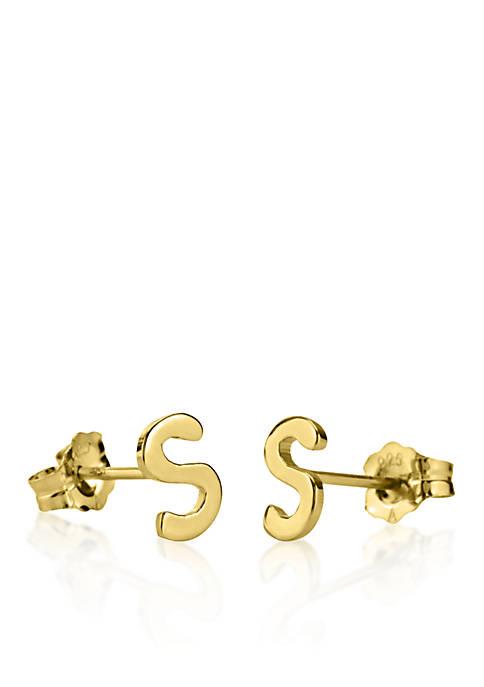 14k Yellow Gold S Initial Earrings