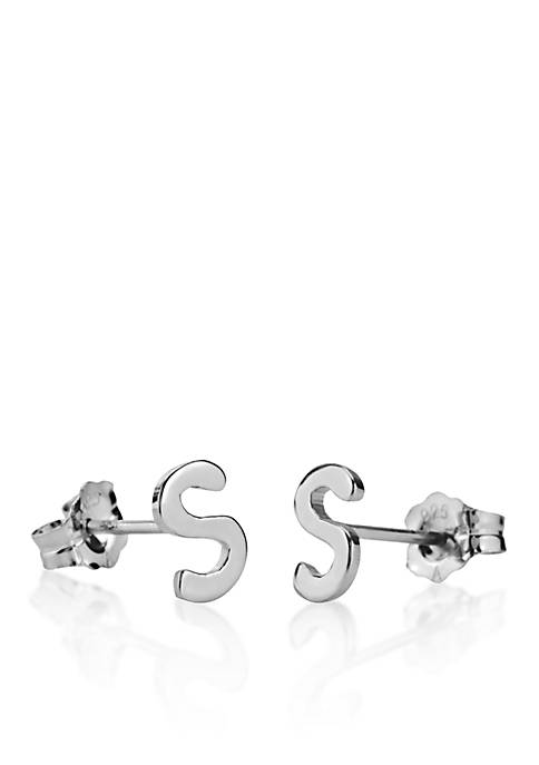 Sterling Silver S Initial Earrings
