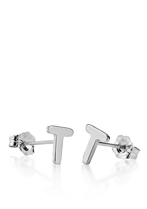 Sterling Silver T Initial Earrings
