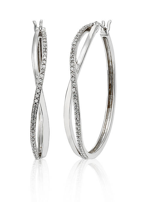 Belk & Co. Diamond Hoop Earrings in Sterling