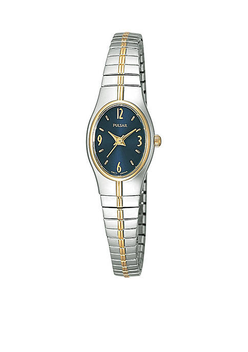 Pulsar Womens Two-Tone Oval Dial Expansion Watch