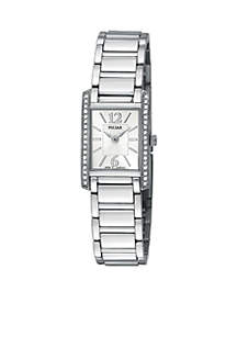 Women's Crystal Accented Silver-Tone Dress Watch