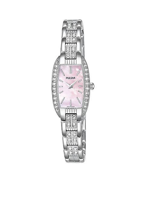 Pulsar Womens Pink Mother Of Pearl and Crystal