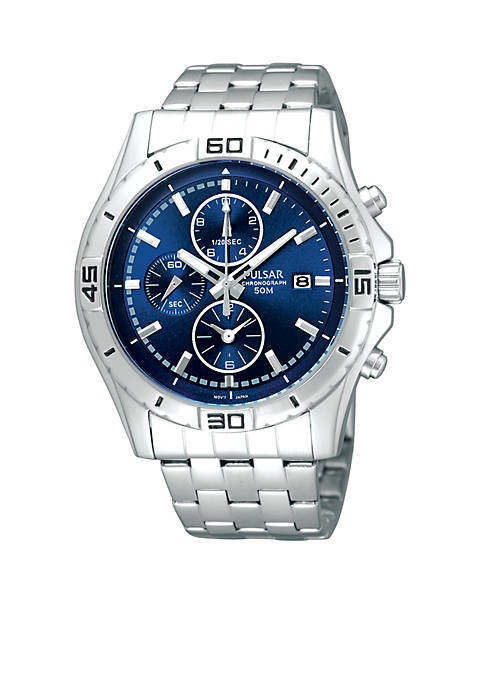 Pulsar Mens Blue Dial Chronograph Watch