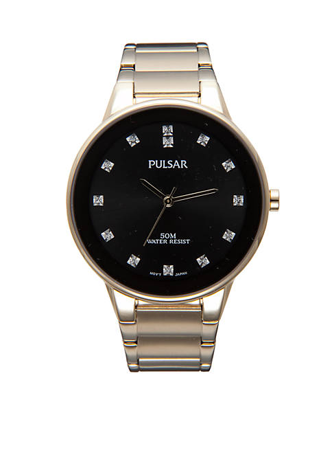 Pulsar Mens Gold-Tone Crystal Black Dial Watch