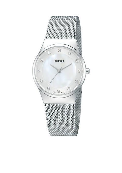 Pulsar Womens Silver-Tone Mesh Band Casual Watch