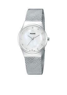Women's Silver-Tone Mesh Band Casual Watch
