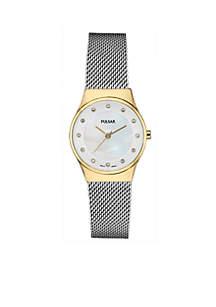 Women's Two-Tone Stainless Steel Pulsar Crystal Mesh Bracelet Watch