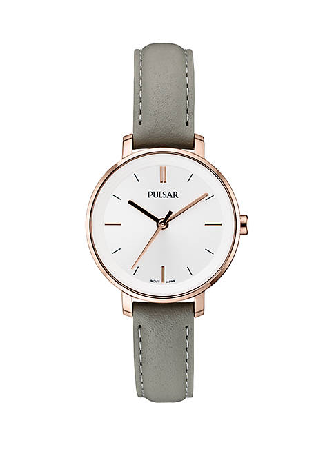 Womens Rose Gold-Tone Stainless Steel Pulsar Essentials Leather