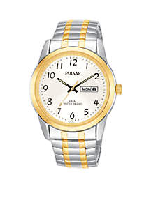 Men's Two-Tone Silver Dial Expansion Watch