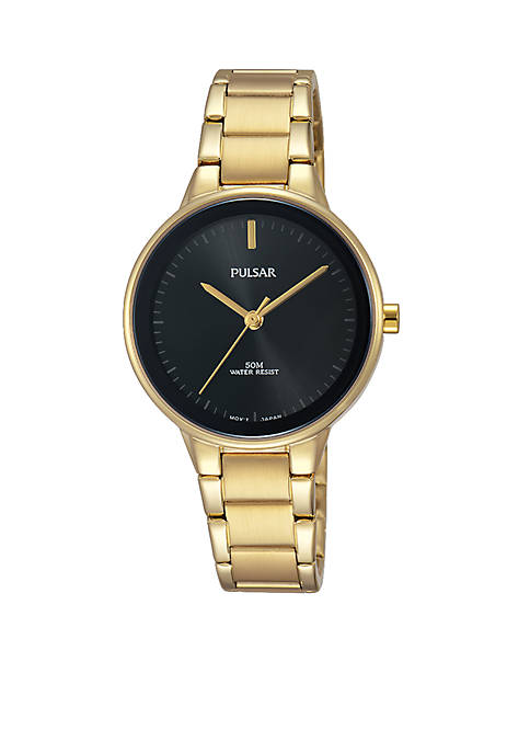 Pulsar Womens Gold-Tone and Black Watch