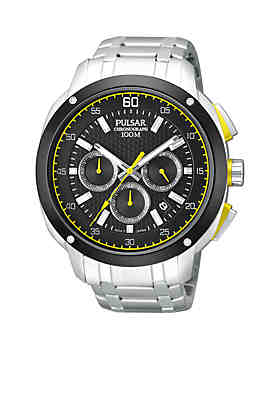 01a6907e9 Pulsar Men's Stainless Steel 100 Meter Black Dial Chronograph Watch
