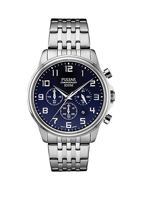 Pulsar Mens Stainless Steel Chronograph Bracelet Watch