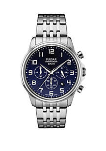 Mens Stainless Steel Chronograph Bracelet Watch