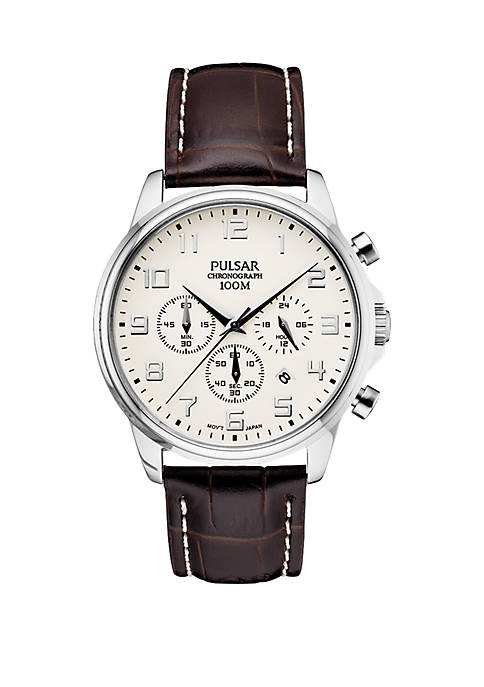 Mens Stainless Steel Chronograph Pulsar Essentials Leather Strap
