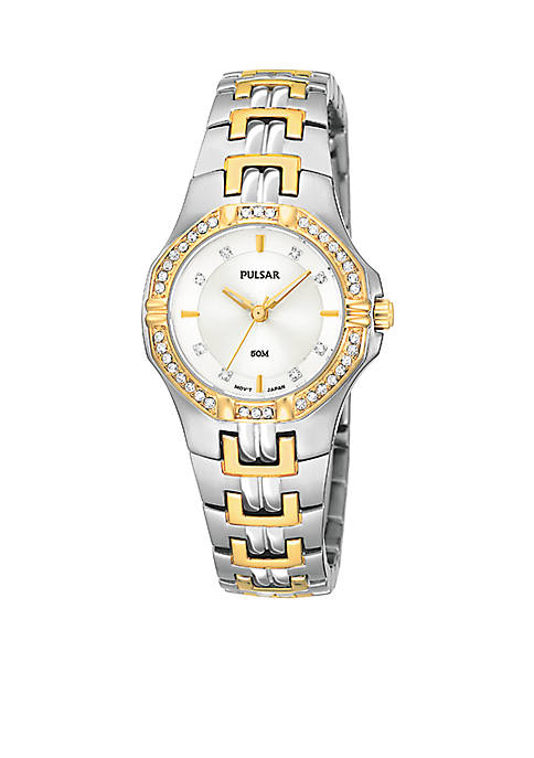 Pulsar Womens Two-Tone Crystal Accented Dress Watch