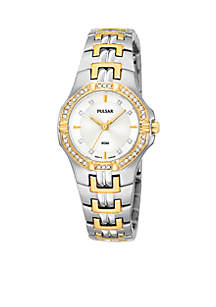 Women's Two-Tone Crystal Accented Dress Watch