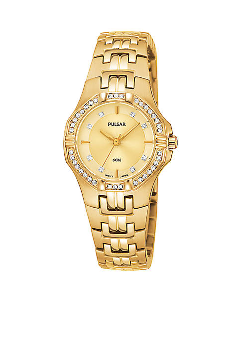 Pulsar Womens Gold-Tone Crystal Bezel Stainless Steel Dress