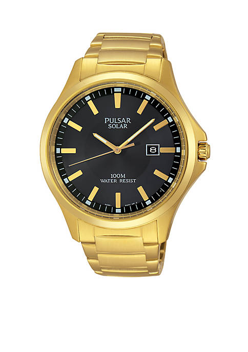Pulsar Mens Gold-Tone Solar Dress Watch