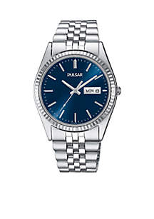 Men's 100 Meter Blue Dial Silver Tone Dress Watch