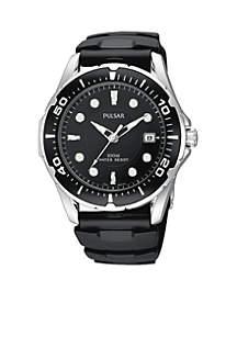 Pulsar Men's Black Urethane Strap Watch