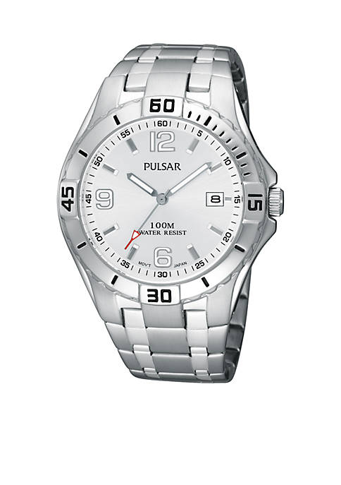Pulsar Mens Silver Tone Stainless Steel Silver Dial