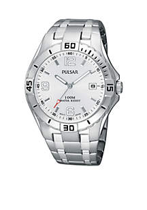 Men's Silver Tone Stainless Steel Silver Dial Sports Watch