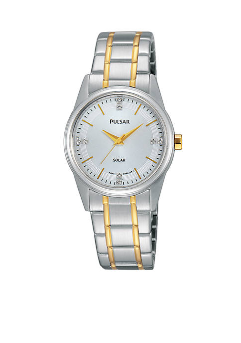 Pulsar Womens Two-Tone Solar Expansion Watch